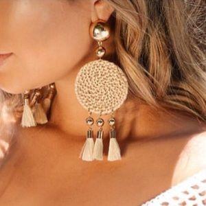 18kt Gold Boho Statement Tassel Earrings